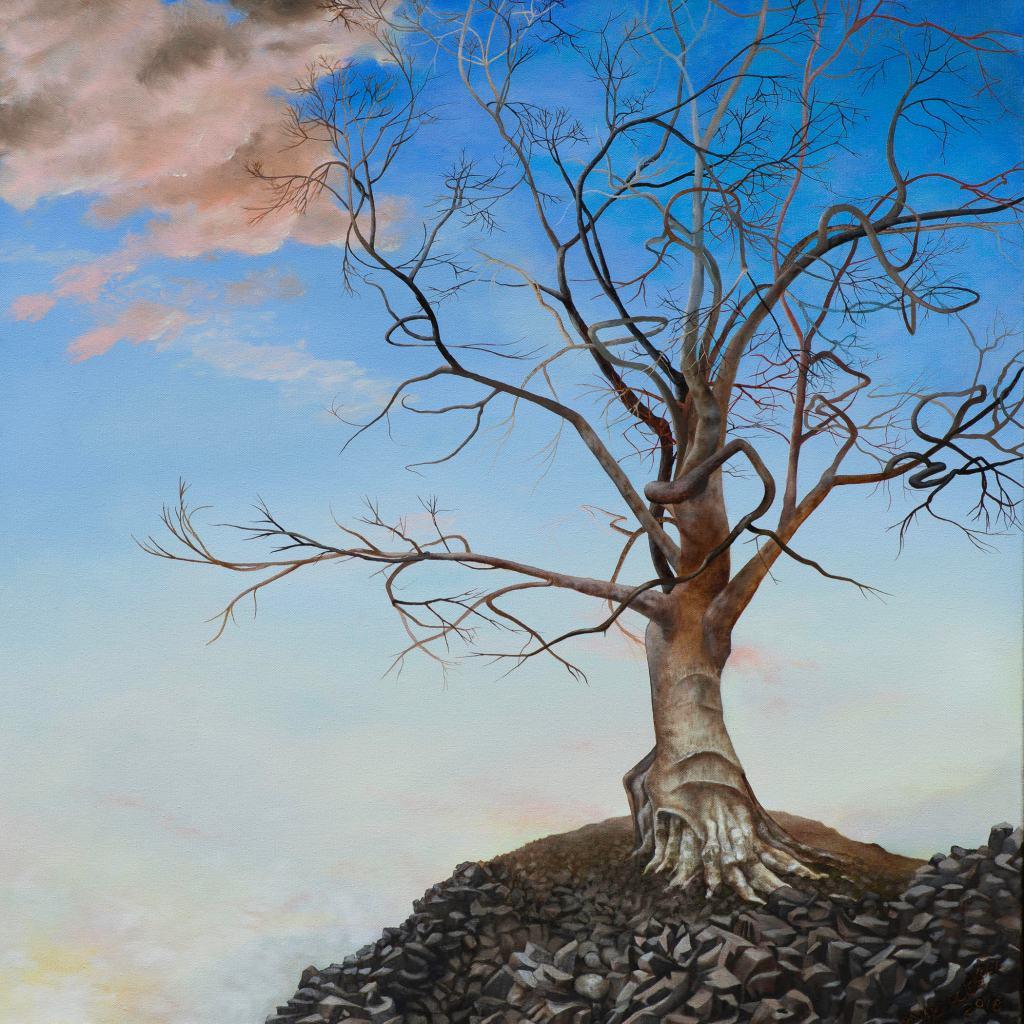 Sanctuary trees oil painting